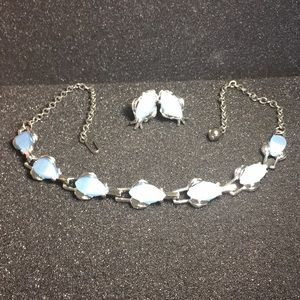 Baby blue/silver vintage necklace and earring set